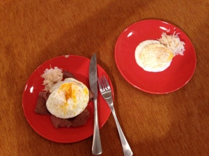Lunch for mama and baby! Pastured eggs and sauerkraut! Mama also has liverwurst.